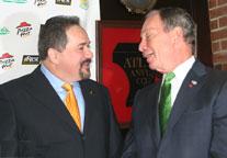 The Mayor talks with Paul Bokum (left)