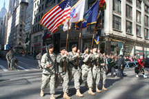 Members of the Fighting 69th marching in the parade