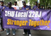 32BJ Members march down 5th Avenue