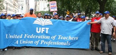 Michael Mulgrew UFT President and members march down 5th Avenue