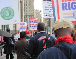 TWU members march to Zuccotti Park