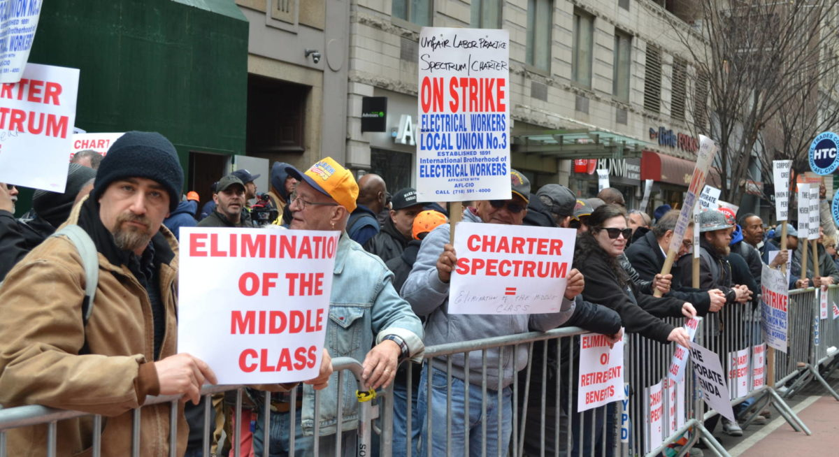 Strikers Rally On Charter/Spectrum's Doorstep; Pols Threaten to Give Cable Giant The Boot