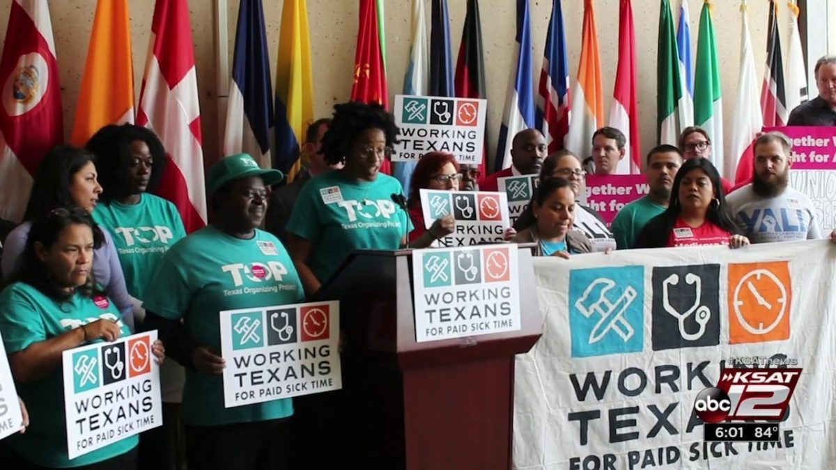 Texans Seek Votes for Paid Sick Time in San Antonio, Dallas
