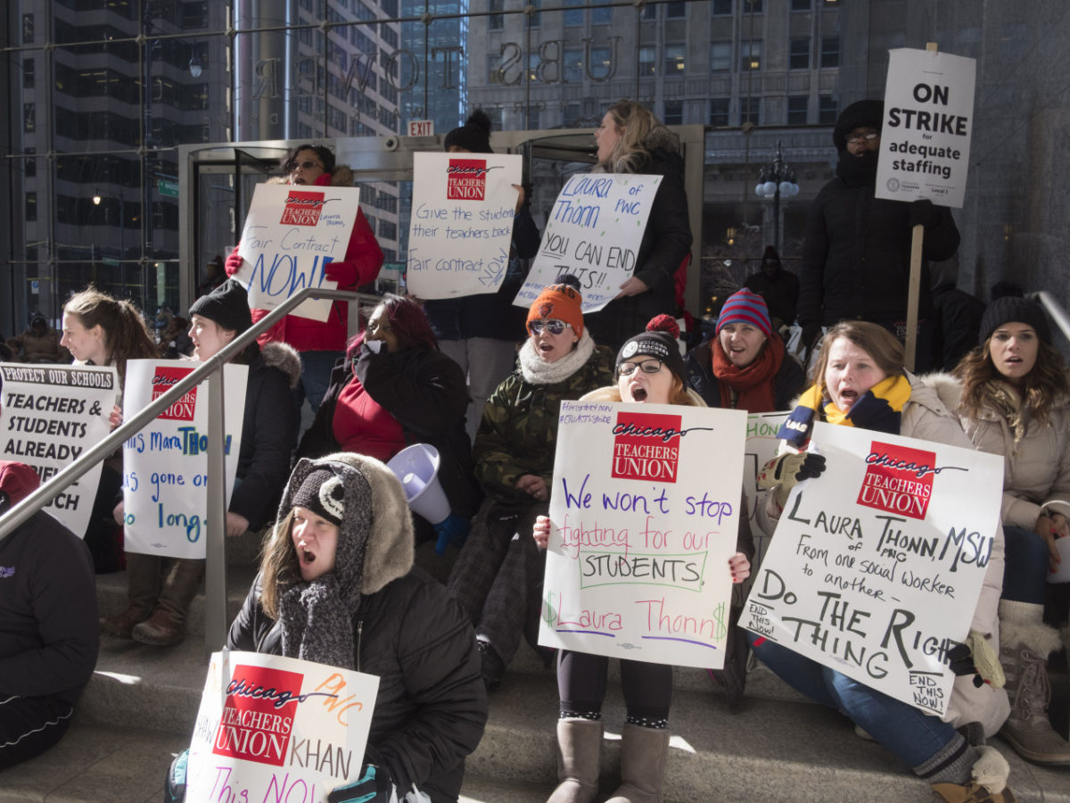 Striking Chicago Teachers Protest at Charter Chain's Office