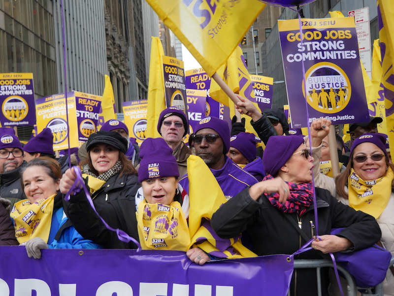 32BJ Building Cleaners Secure New Contract Agreement Following Large NYC Rally & March